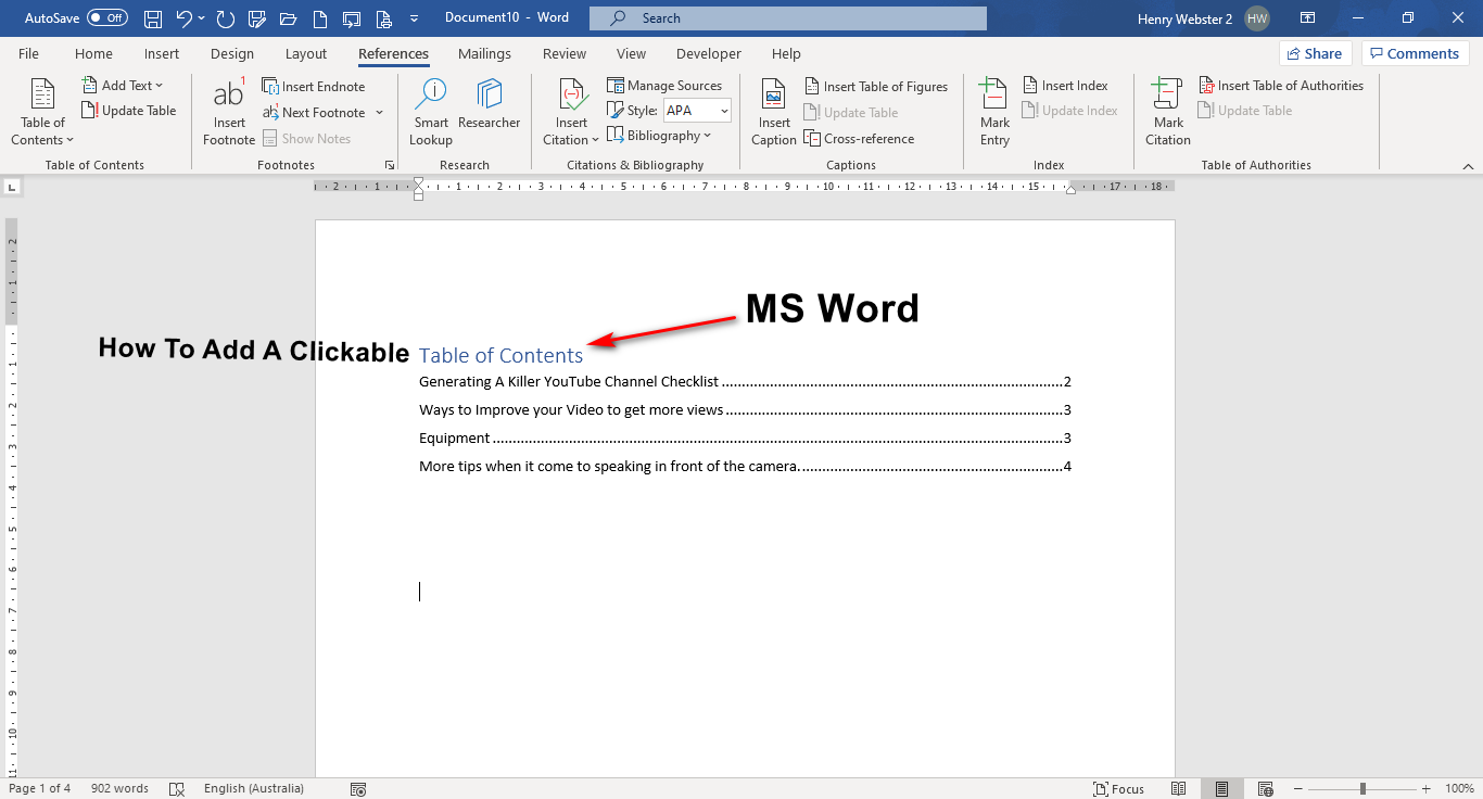 How To Easily Put A Clickable Table Of Contents Into a Word Document